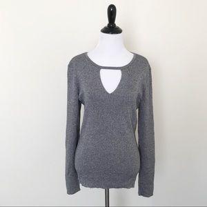 INC Silver Metallic Ribbed Keyhole Sweater, NWOT