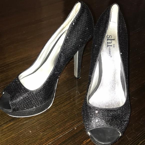 black sequin peep toe heels