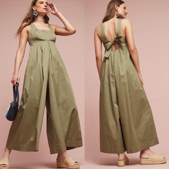 53c62f95aa0f  Anthropologie  Amity Wide Leg Jumpsuit Olive 8 P