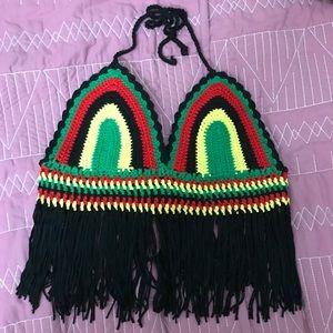 Tops - Crochet knit fringe top