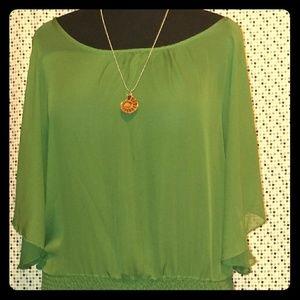 NWT! Christmas-Green Sheer Flutter Blouse