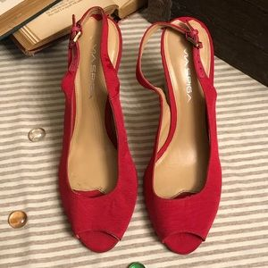 Size 8 Via Spiga red wedges
