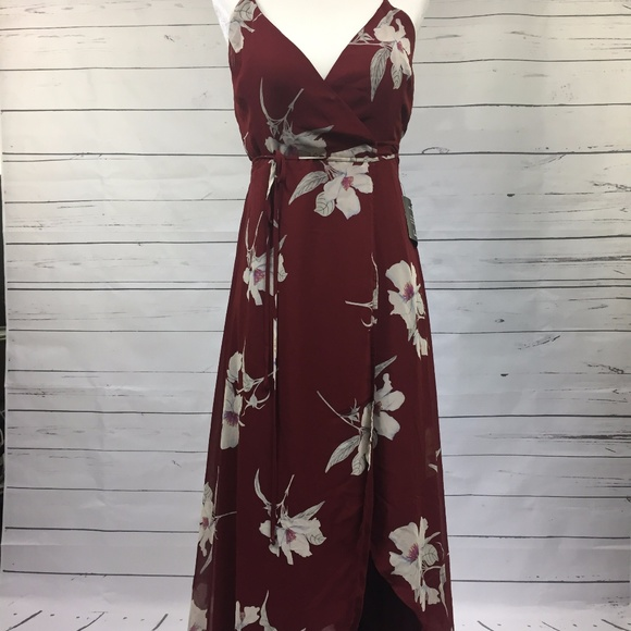 710dac1a62b ALL MINE WINE RED FLORAL PRINT HIGH-LOW WRAP DRESS