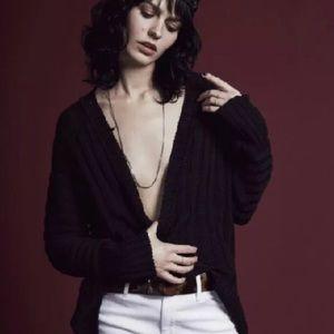 For Love And Lemons Knitz Silk Rib V Neck Sweater