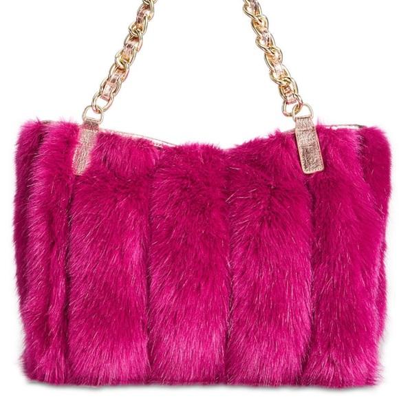 HP x 3 Betsey Johnson Pink Faux Fur Satchel Chain d7d57e34b785f