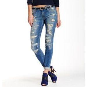Joe's Jeans Mid Rise Ankle Skinny Distressed