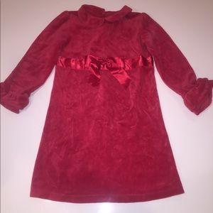 Talbots red velour stretch l/s xmas collar dress 6