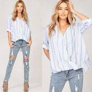 SHARON Striped Top - BLUE