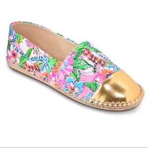 Lilly Pulitzer Espadrilles Nosey Posie Pink Gold