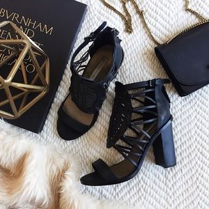 Cynthia Vincent strappy leather caged sandals