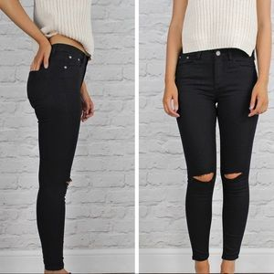 Black Ripped Knee Stretchy Jegging Jeans