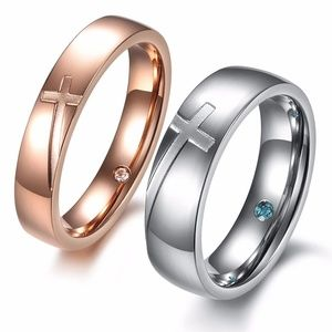 Jewelry - Stainless Steel Rose Gold Silver Cross Ring Couple
