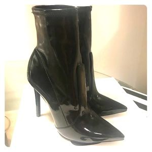 Schutz Brunny patent leather pointy toe bootie