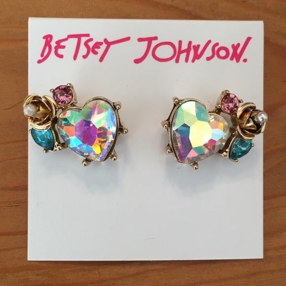 4f3509e7e Betsey Johnson Jewelry   Iridescent Heart Rose Stud Earrings   Poshmark