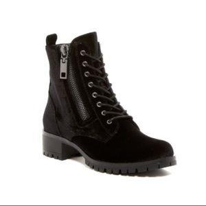 Dolce Vita Paulina Black Velvet Moto Boot Shoe 8