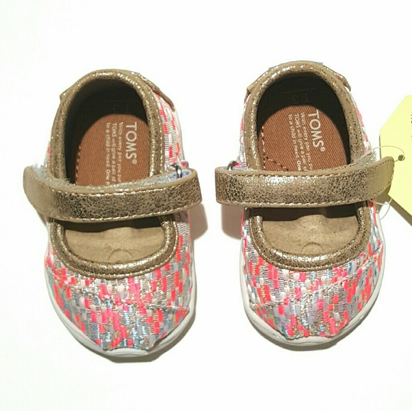 57c7d6c6a5ce Toms Mary Jane Pink N Gold Glitz Woven