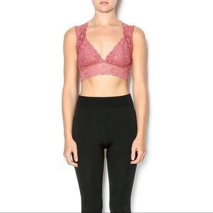 2ce53420ada Free People Intimates   Sleepwear - FREE PEOPLE Evangelina Crop Lace  Bralette Sunset M