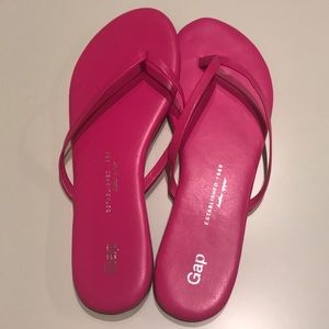 Gap Hot Pink Leather Flip Flops - Brand New!