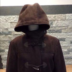 Chaps Faux Suede Toogle Coat w hood
