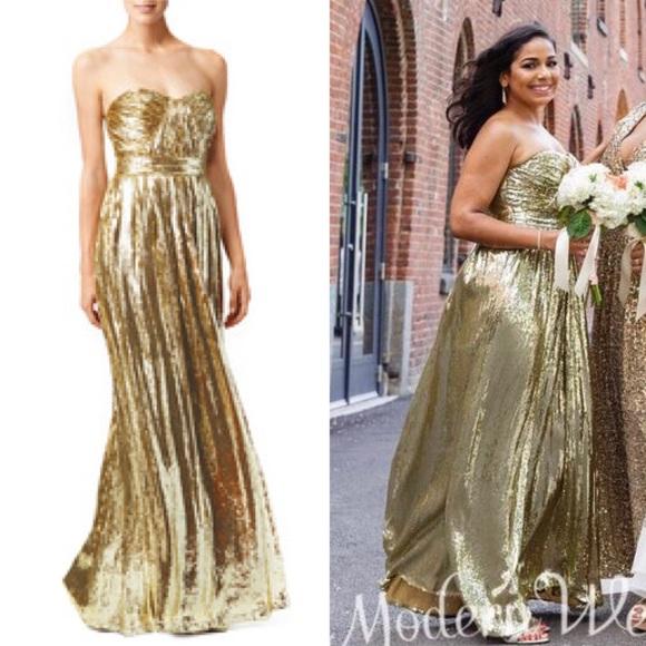 Badgley Mischka Dresses | Gold Screen Siren Dress | Poshmark