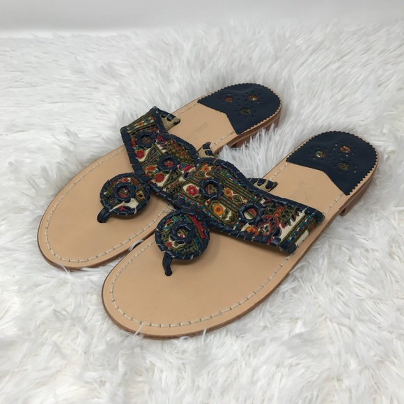 Jack Rogers Shoes - New Jack Rogers Printed Leather Trim Sandals