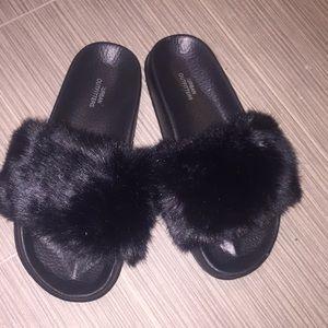 Urban Outfitters Black Faux Fur Slides