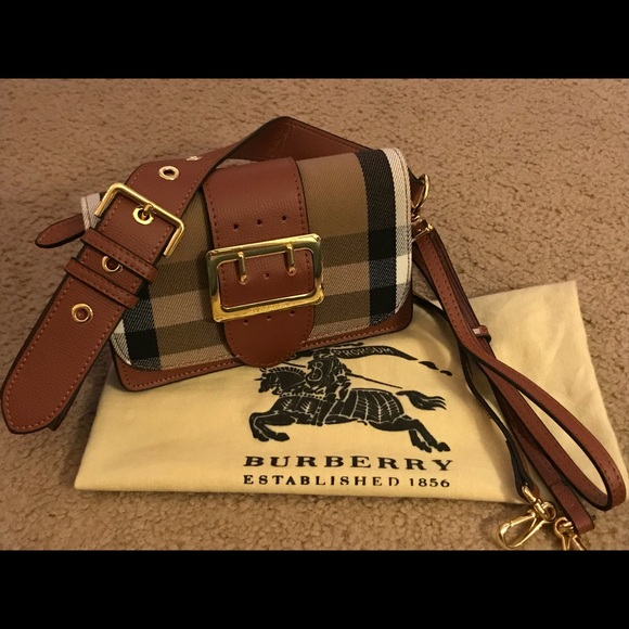 Burberry Handbags - Burberry small buckle bag in house check leather e5dba39787dad