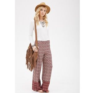 Abstract Print Flowy Pants