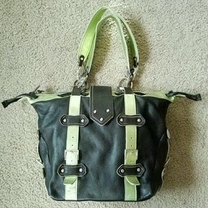 Gustto Spanish Leather Handbag Chocolate/Lime