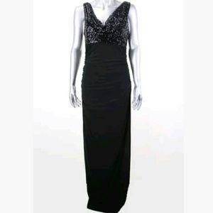NIGHTWAY BLACK SEQUIN FITTED DRESS SIZE 8