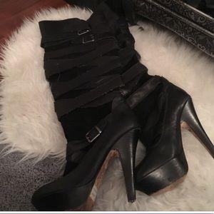 Dolce vita strappy stiletto platform boots