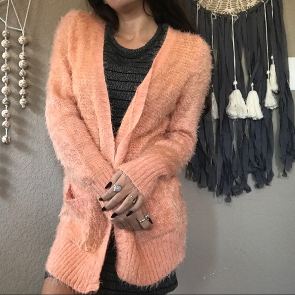 29% off love & love Sweaters - Pink fuzzy chunky cardigan from ...
