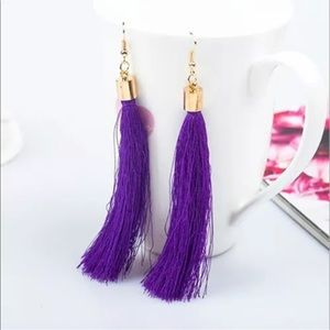 NWT silk tassel fringe long statement earrings