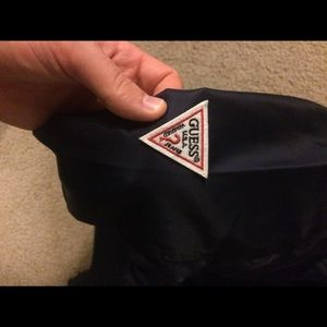 GUESS Men's Nylon Embroidered Bomber Jacket, Black, Small