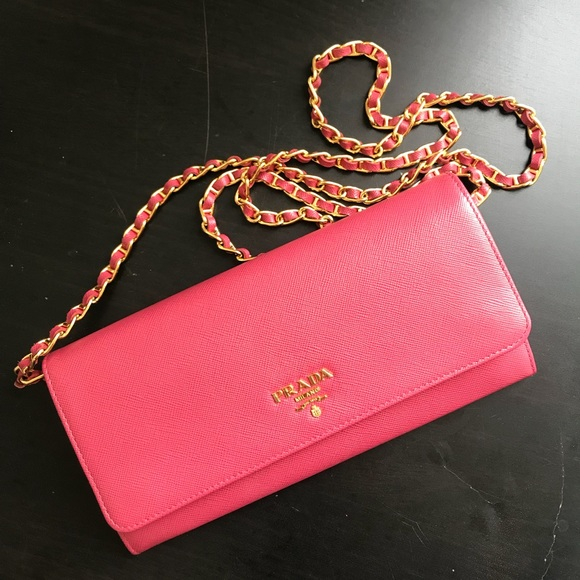 e7ccf1ca1823a3 Prada Bags | Saffiano Wallet On A Chain Clutch Pink | Poshmark