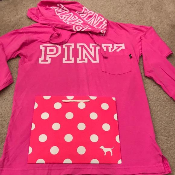 NWT lightweight PINK VS fushia hooded shirt Xs Sm 4004cfca6