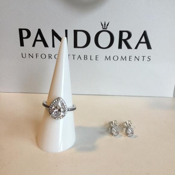 9ce21106e Pandora Jewelry | Radiant Teardrop Ring Stud Earrings Set | Poshmark