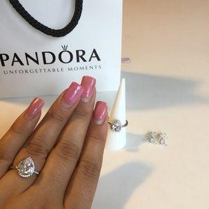 e440c238f Pandora Jewelry | Radiant Teardrop Ring Stud Earrings Set | Poshmark