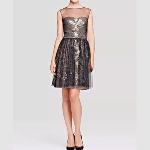 Vera Wang Metallic Lace Tulle Fit & Flare Dress