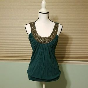 Teal Top with Silver Beading