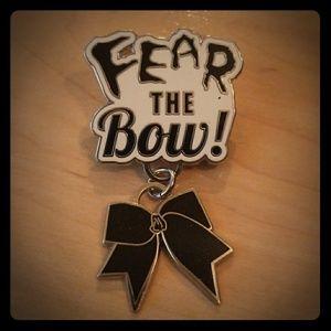 VARSITY Black Fear The Bow Cheer Pin