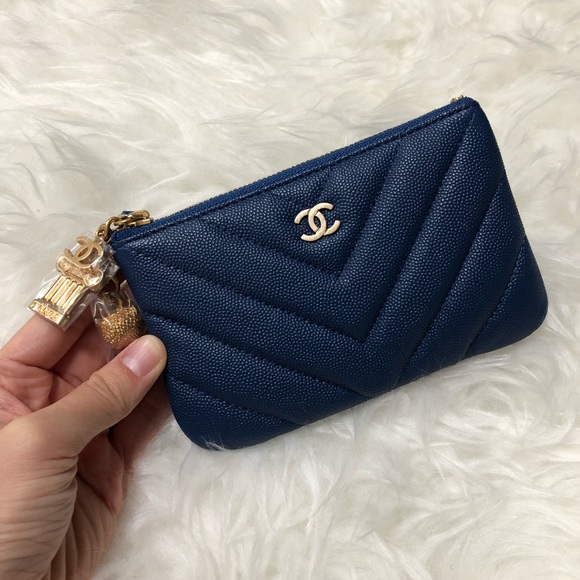 44233453f2eb CHANEL NAVY CAVIAR MINI O CASE POUCH WALLET