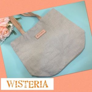WISTERIA Burlap Large Tote in Gray Blue and Khaki