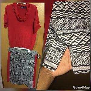Eloquii Tribal Print Midi Skirt Sz 18