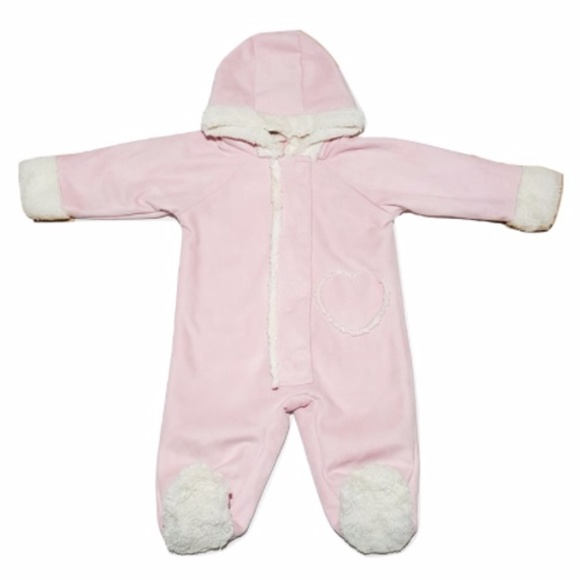d043b9019 Baby Pink Suede & Shimmery White Fur Snow Suit. M_5a1f98d2ea3f3679fc01fa83