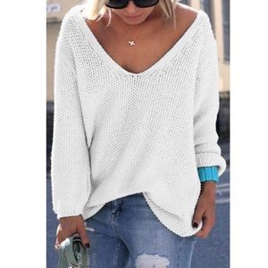 Sweaters - 'Tinsley' Off White Vneck Sweater