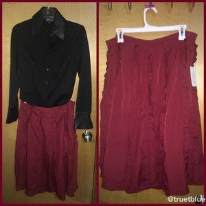 Eloquii Ruffle Midi Skirt Sz 18
