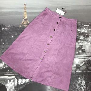 Vegan Suede A-Line Midi Skirt