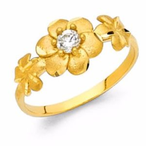 14k Yellow Gold Hawaiian Plumeria Flower Ring 6mm