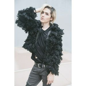 Shag Fur Coat Black Chain Oversized Goth Rave Punk